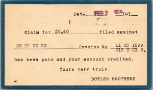 1924 Chicago, Illinois Business Postcard BUTLER BROTHERS Receipt Card w/ Cancel