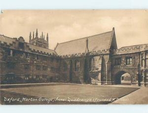 Divided-Back MERTON COLLEGE QUADRANGLE Oxford England Uk hn6360