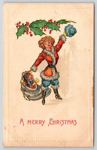 Christmas~Skinny Blonde Lady Santa Claus Tips Blue Hat~Sack of Toys~Holly~1909