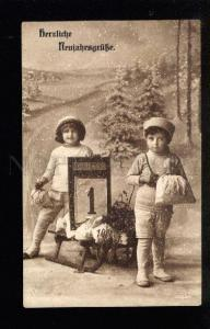 045531 X-MAS Kids WINTER Clothes on SLED old PHOTO