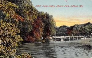 Oshkosh WI Rustic Bridge @ Electric Amusement Park c1910
