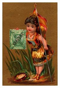 Espagne   Stamp, Flag, Girl   Victorian Philatelic Trade Card