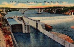 Minnesota Minneapolis U S Government Dam and Locks and Ford Bridge Curteich