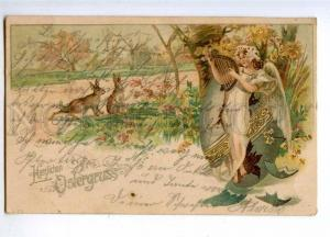 189922 EASTER Winged ANGEL in EGG & RABBIT Vintage LITHO PC