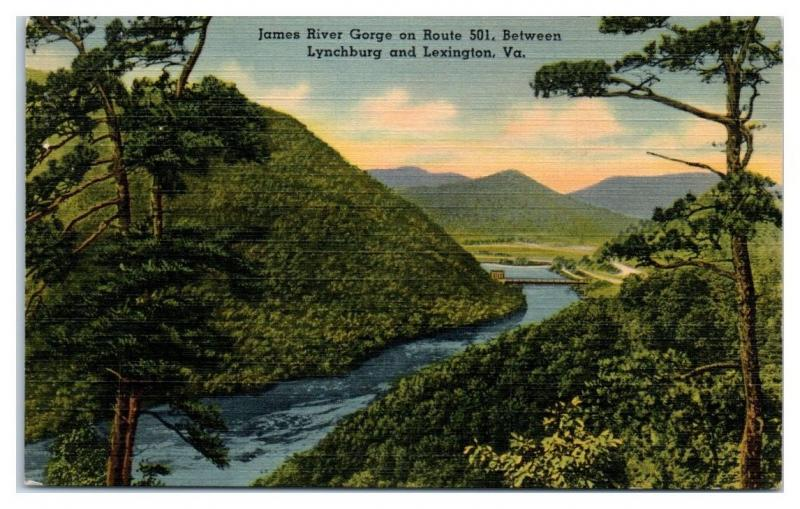 Mid-1900s James River Gorge between Lynchburg and Lexington, VA Postcard