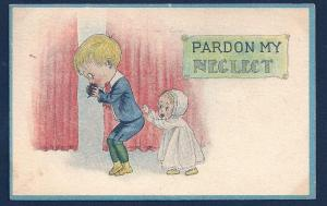 Baby Girl & Boy 'Pardon My Neglect' used c1915