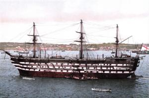 Postcard, HMS Impregnable in the Hamoaze off Devonport Dockyard in the 1890s O87