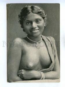 196025 Semi-nude ceylon girl Old hand made russian postcard