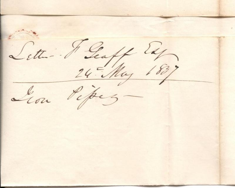 1837 Letter Sheet - Philadelphia to Boston