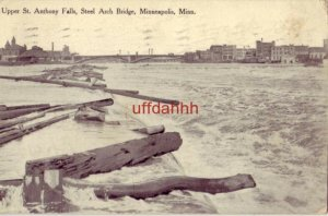 UPPER ST. ANTHONY FALLS, STEEL ARCH BRIDGE, MINNEAPOLIS, MN 1910