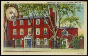 Longfellows Home Portland ME unused 1934