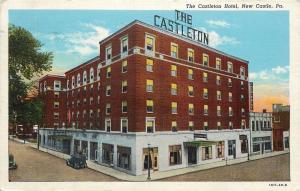 New Castle Pennsylvania~Castleton Hotel~Frigidaire Store~1946 Linen Postcard