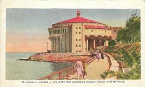 Catalina Island California~The Casino At Catalina~Tourists on Fence Walk~1930 PC