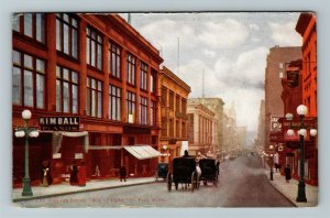 St Paul MN-Minnesota, East 6th Street, Kimball Pianos, Vintage Postcard