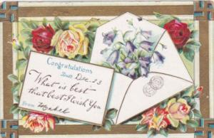 Congratulations With Flowers and Swastika Border 1909