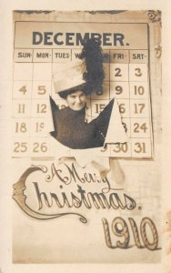 LP27 Postcard Christmas Collectible Calendar RPPC 1910 Decemnber