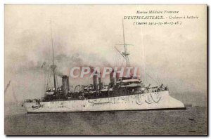 Postcard Old Navy War Ship Francaise D Entrecasteaux Cruiser battery