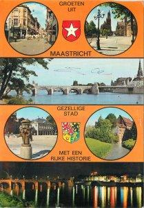 Postcard Netherlands multi view maastricht rijke historie bridge night city