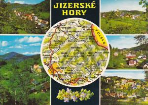 Czechoslovakia Jizerske Hory Multi View With Map