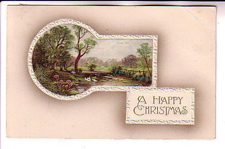 Embossed Keyhole with Scene, Happy Christmas, BB London Series X345, Hillboro...