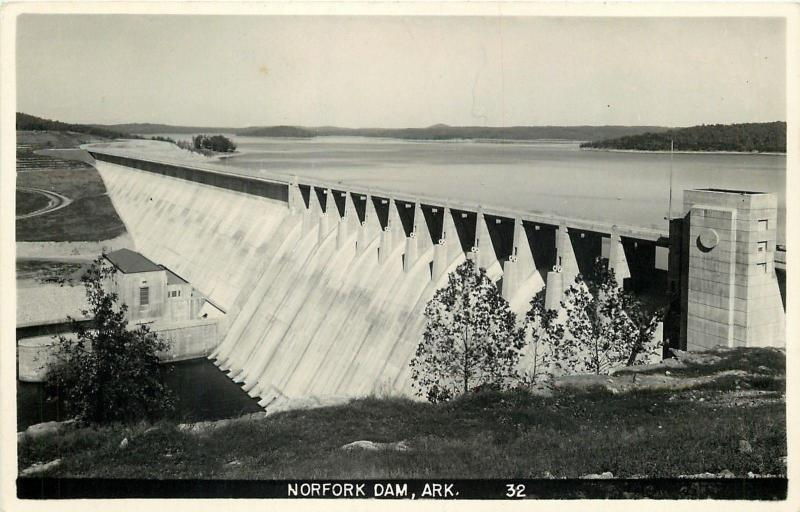 Norfork Arkansas~Norfork Dam Aerial View~#32~Real Photo 1950 Postcard~RPPC