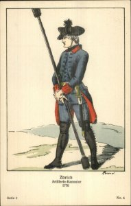 Swiss Army Uniform Series 3 #4c1910 Postcard ZURICH ARTILLERIE-KANONIER