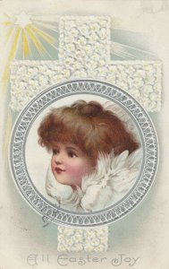 EASTER, PU-1911; Cherub Profile in silver frame, Cross, star with rays of light
