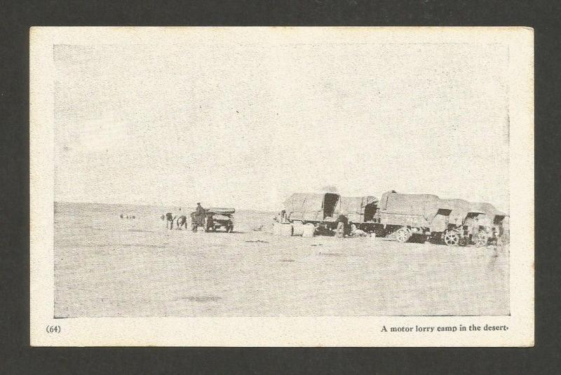 Iraq vintage WW1 postcard A Motor Lorry Camp in the Desert WW1