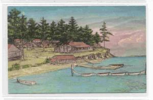 Handcolored Sketch, Buckhorn Lodge, East Sound, Orcus Island, Washington, 10-20s