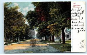 1906 Residential Street Scene Astor Street Milwaukee Wisconsin WI Postcard B17