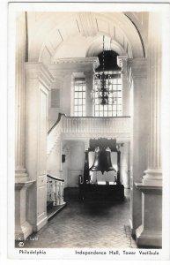 Independence Hall Tower Liberty Bell Philadelphia PA 1937 K F Lutz Postcard