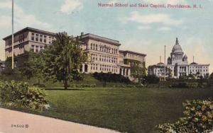 Normal School and State Capitol - Providence RI, Rhode Island - pm 1911 - DB