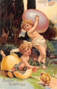 PFB Easter~Gossamer Babies Carry Giant Lavender Egg~Broken Yellow Shell~Emb~9828