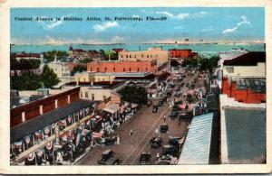 Florida St Petersburg Central Avenue In Holiday Attire 1925