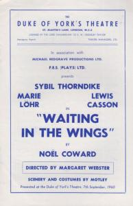 Waiting In The WIngs Sybil Thorndike Comedy Lewis Casson Marie Lohr Theatre P...