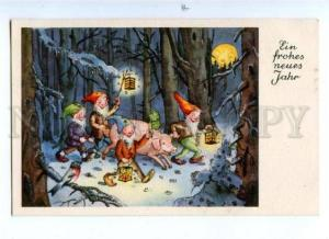 176681 NEW YEAR Smile MOON & GNOME Pig Vintage PC w/ APPLIQUE