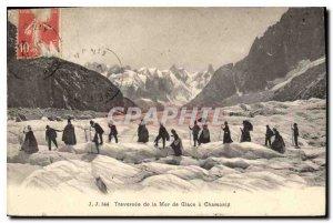 Postcard Old cross the Mer de Glace in Chamonix