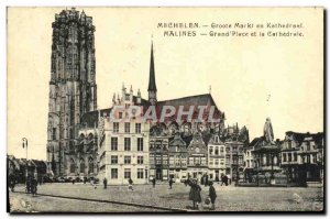 Old Postcard Mechelen Grand Place and Cathedral
