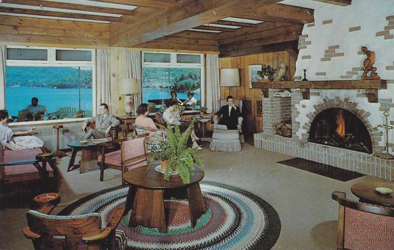 Interior View, Lounge and Fireplace of Manoir Saint-Castin, Lac Beauport, Que...