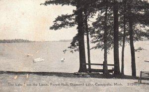 Cassopolis, MI, Diamond Lake from Forest Hall Lawn, Vintage Postcard h3599