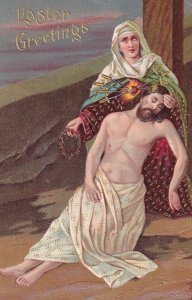 EASTER, 1900-10s; Greetings, Mary holding Jesus Christ at the feet of the cro...
