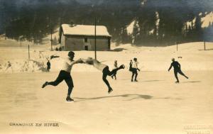 France - Chamonix. In Winter, Ice Skating.    *RPPC
