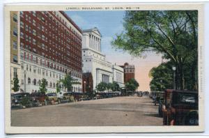 Lindell Boulevard St Louis Missouri 1940s linen postcard
