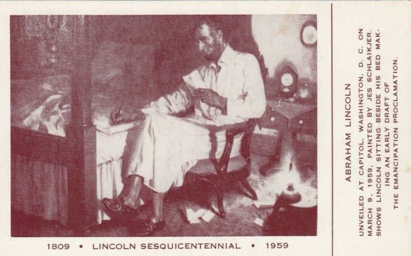 WASHINGTON D.C., 1959 ; Abraham Lincoln sitting beside bed making an Early Draft