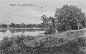 Logansport Indiana~Wabash River Scene~Trees Reflected in Water~c1905 B&W Pc