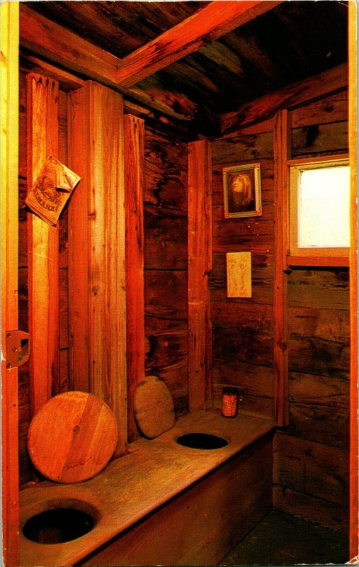 Vtg Postcard Plymouth Notch Vermont VT President Coolidge Homestead 2-Hole Privy
