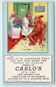 LOS ANGELES, CA ~ Advertising CARLO'S CAFE c1940s Lawson Wood Roadside  Postcard