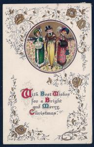 Bright Merry Christmas Ladies Man Vintage Clothes used c1912