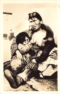 Alaska~Mickaninie's Kow Kow~Eskimo Mother Nurses Baby & Toddler~Bare Breast~RPPC