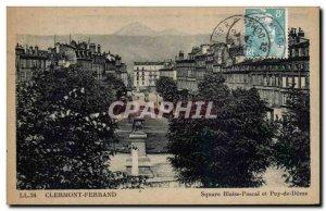 Old Postcard Clermont Ferrand Square Blaise Pascal and Puy de Dome